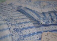 Rachel Ashwell Treasures Queen Flat Sheet Vtg Shabby Chic Blue ROSE White Stripe