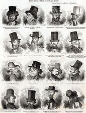 CAPPELLI NEL 1848.2. Studi di Bertall. Caricatura.Satira.Storia del Costume.1848
