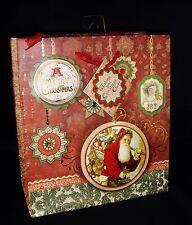 Punch Studio Party Christmas Gift Bag Gold Foil Santa Ornament 64704 Medium