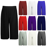 Womens Ladies 3/4 Length Short Palazzo Wide Leg Culottes Causal Trousers Pants