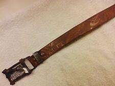 Vintage 1950's Davy Crocket Kid's Child's Tooled Leather Belt w/ Metal Buckle
