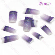50pcs Acrylic False French Nail Art Glitter Tips White purple Gradient