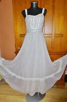 Vtg 70s GUNNE SAX Gauze Ivory Floral HIPPIE Boho Prairie Wedding Maxi DRESS