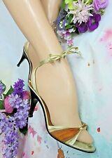 Vintage Xavier Danaud Paris high heel Shoes strappy Gold Bronze molded heels 8