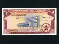 Ghana:P-2a,1 Pound 1958 * Bank Of Ghana Bldg * 1st Issue ! * AU-UNC *