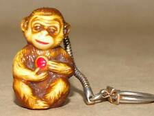 "Vintage Chinese 1.25"" Molded Resin Monkey w/ Ball Key Chain"