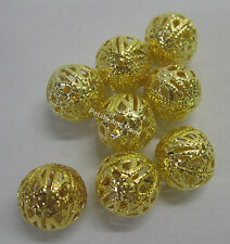 8 New 14mm Metal Filigree Gold Tone Ball Beads Beading & Jewellery Making JF661