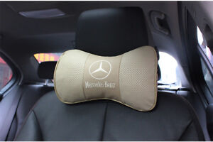 2Pc Real Leather Beige Color Car Seat Neck Pillow Car Headrest Pillow For Benz