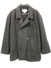 J Crew Mens Large Peacoat Double Breasted Wool Blend Quilted Lined Jacket Grey