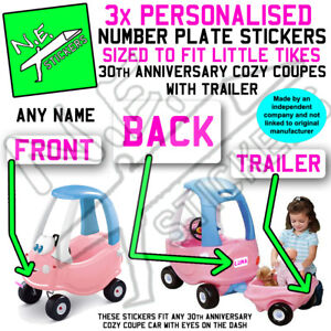 *WHITE/PINK* 3x number plate stickers TO FIT Little Tikes Cozy Coupe car Trailer