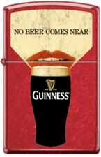 Zippo Guinness, No Beer Comes Near, Candy Apple Red Finish Windproof Lighter NEW