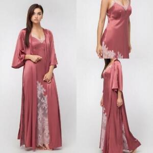 Women Bathrobe Lace Floor Length Lingerie Nightgown Pajamas Sleepwear Gowns 2pcs