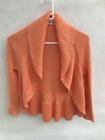 ☘️ CABLE MELBOURNE orange Knit Cotton Bolero Shrug Cropped Cardigan S 10 Jumper