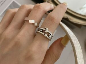 Vintage Star Moon Adjustable Ring Sterling Silver Women Jewelry Gift JZ0330 UK