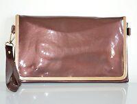 BORSELLO BRONZO borsetta donna pelle vernice pvc oro borsa pochette da sera H1