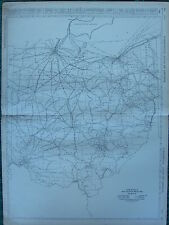 1922 LARGE AMERICA MAP ~ OHIO MILEAGE RAILROADS ROUTES ~  RAND MCNALLY