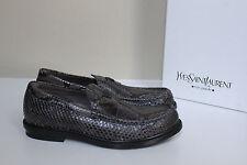 New sz 9.5 US / 42.5 YSL SAINT LAURENT PYTHON Brown Leather LOAFERS MEN Shoes
