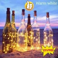 Solar Wine Bottle Lights 10 LED Cork Shape Night Fairy Light String HOT SALE