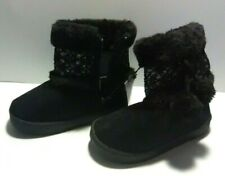 Swiggles Toddler Girl's Black Boots with Pom Poms - Side Zipper - Size: 9