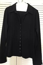 George stretch blouse, Black, Snap Front, Size Large, Long Sleeve