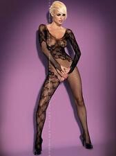 Sexy Obsessive F210 Netz Catsuit Schwarz S-L Body Stocking Nylons Schritt offen