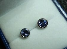 Bezel Set AAA Tanzanite Stud Earrings Set In 9 kt White Gold