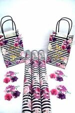 9pcs Black & White Stripe Floral Wrapping set Gift Wrap, Gift Bags & Gift Tags