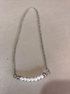 Vintage Collectable Retro Pearl Necklace Silver Tone