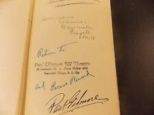 Cherry Lane Theatre~Paul & Virginia Gilmore Own Signed Playbook~1935~Raphaelson