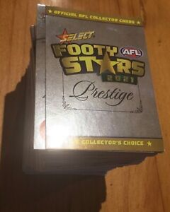 2021 AFL Select Footy Stars PRESTIGE Full Common BASE Set of 163 Foil Cards