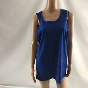 New Men Women T-Shirt Tank Top Yoga Shirt Size M Sleeveless Blue Solid Casual