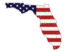 Florida State (J1) USA Flag Distressed Vinyl Decal Sticker Car/Truck Laptop