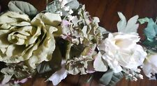 """White Rose Swag 17"""" Silk Flowers Roses Hydrangea Centerpieces"""