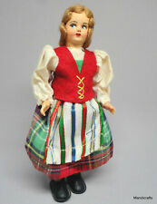 Doll Souvenir Italy Lenci Traditional Dress 6in 16cm Painted Fabric Face Vtg