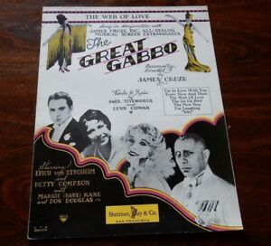 1929 Sheet Music: The Great Gabbo (The Web Of Love) Sherman Clay & Co