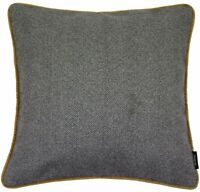 McAlister Textiles Herringbone Boutique | Charcoal Grey & Ochre Cushion Cover