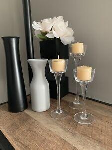Long-Stem Glass Tealight Candleholders (3 pc set)