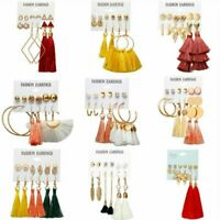 6Pairs Boho Pearl Crystal Tassel Earrings Set Women Ear Stud Jewelry Holiday Hot