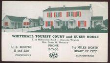 Postcard ROANOKE Virginia/VA  Whitehall Tourist Motel Motor Court view 1930's