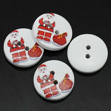 30 SANTA/FATHER CHRISTMAS PAINTED WOOD BUTTONS 15mm Sewing~embellishment  (77D)
