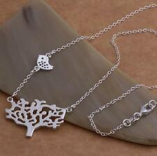 Stunning 925 Sterling Silver Tree of Life Leaf Bird Nature Charm Necklace