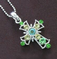 VTG Antique Style Cross Green Crystal Rhinestone Necklace Chain Charm Pendant 4b