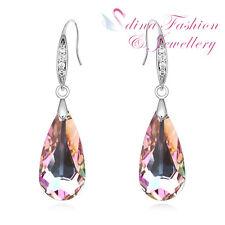 18K White Gold GF Made With Swarovski Crystal Water Drop Purple Dangle Earrings