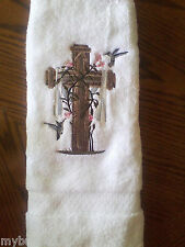 Cross and Hummingbirds GORGEOUS EMBROIDER SET 2 BATHROOM HAND TOWELs by laura