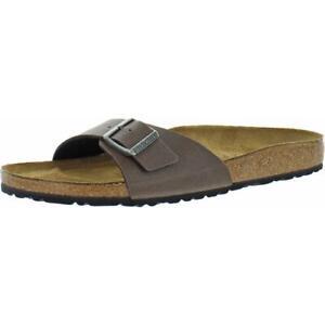 Birkenstock Mens Madrid Leather Slip On Slides Footbed Sandals Shoes BHFO 5388