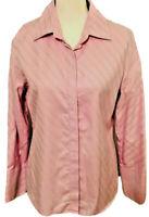 Banana Republic Womens Button Up Shirt Pink Stripe Long Sleeve 100% Cotton Lge