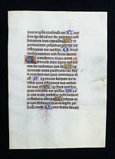 """1430 Original Medieval Manuscript on Vellum, """"Amazing Latin Book of Hours Leaf"""""""
