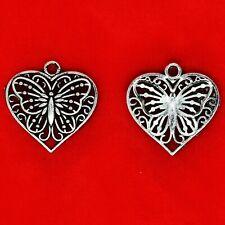 8 x Tibetan Silver Filigree Butterfly In A Love Heart Charms Pendants