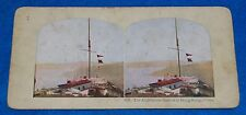 Lighthouse Station Hong Kong & Chinese Junks Hong Kong (2 Sided) Stereoview Card