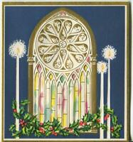 VINTAGE CHRISTMAS ECCLESIASTICAL CHURCH WINDOW WHITE GOLD CANDLES GREETING CARD